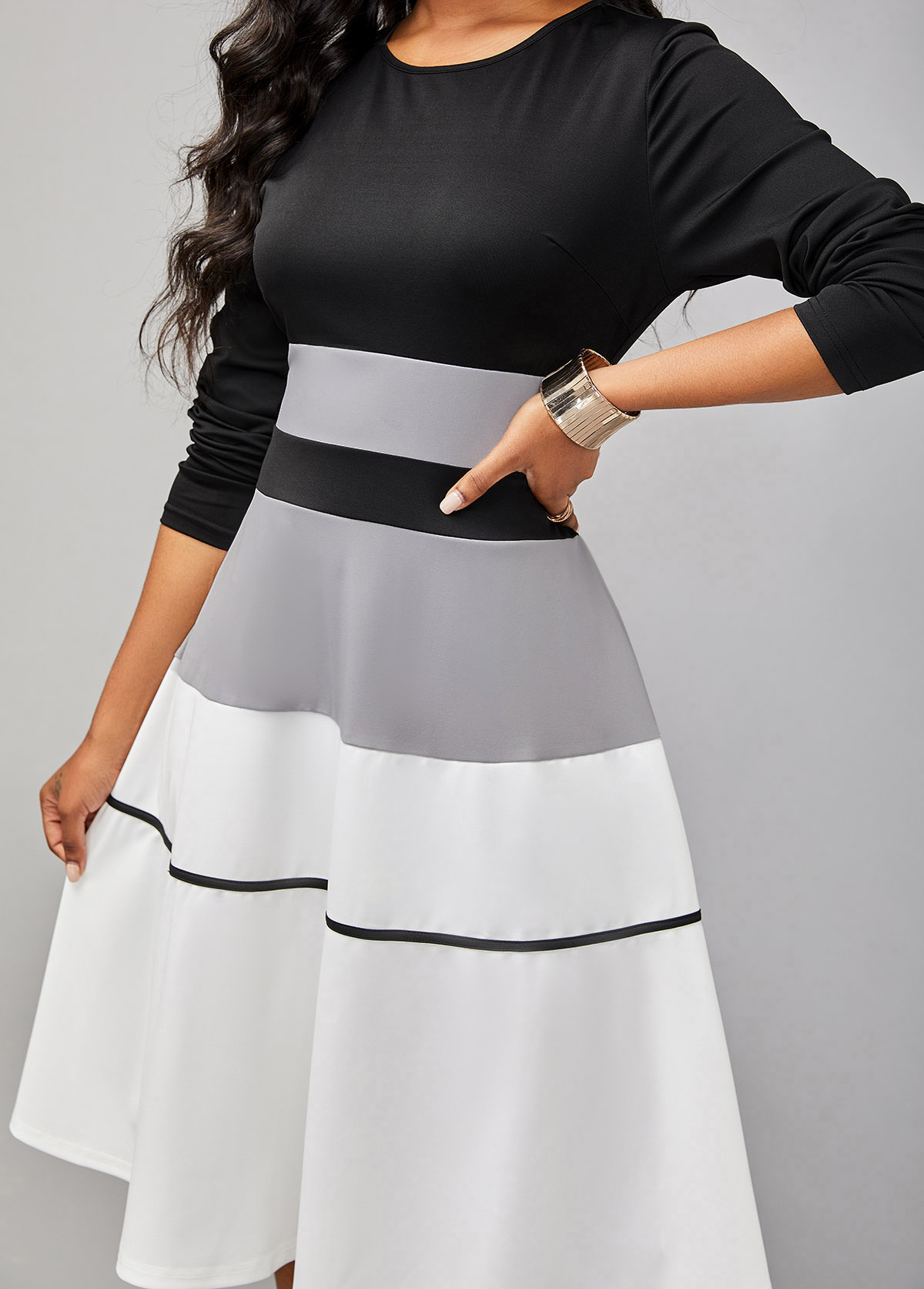 Long Sleeve Contrast Round Neck Striped Dress