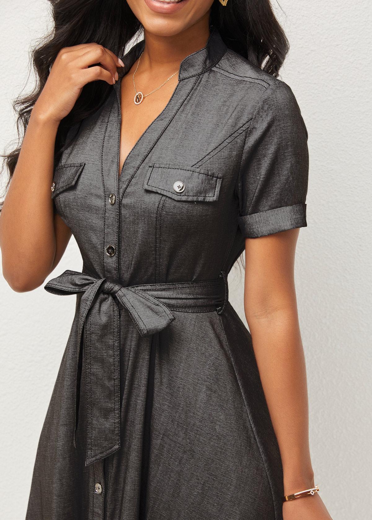 Button Up Short Sleeve V Neck Dress