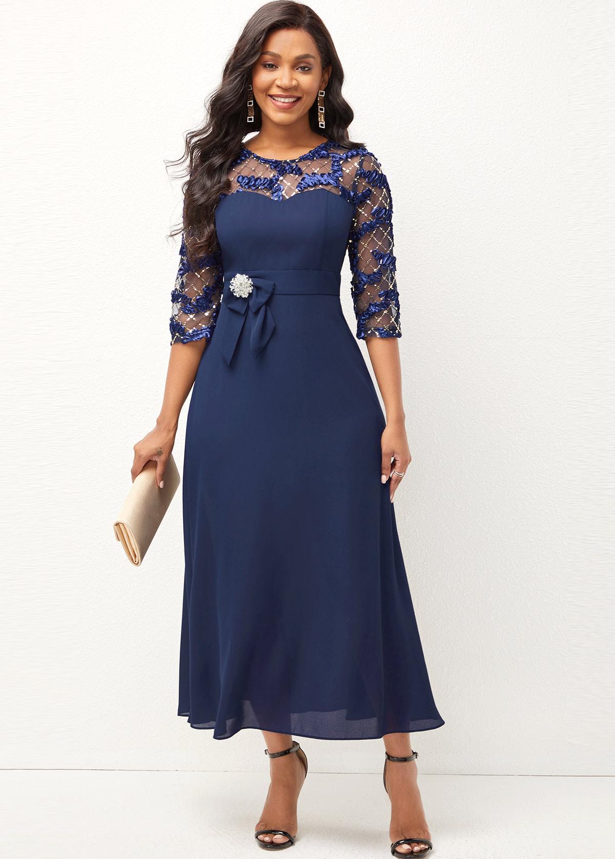 Round Neck Lace Stitching Shining 3/4 Sleeve Dress