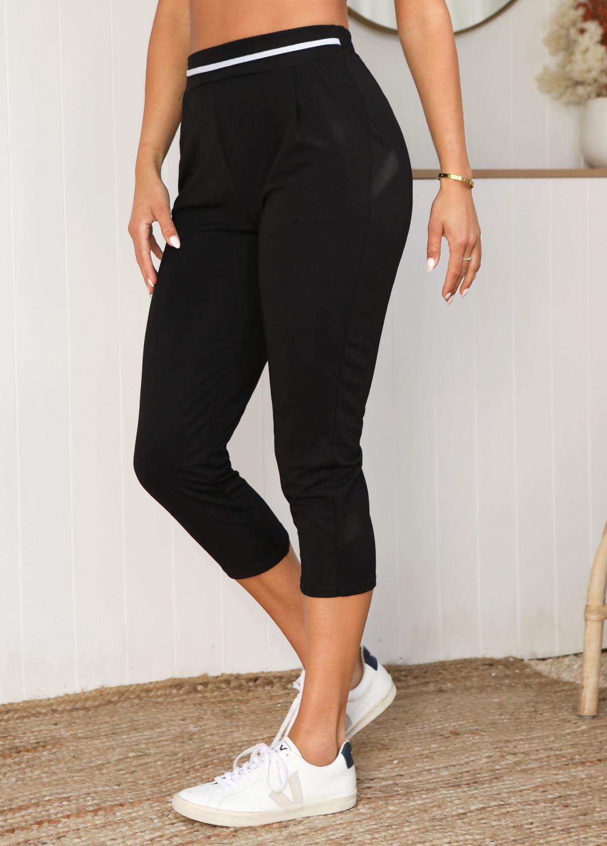 High Waisted Double Side Pockets Striped Pants