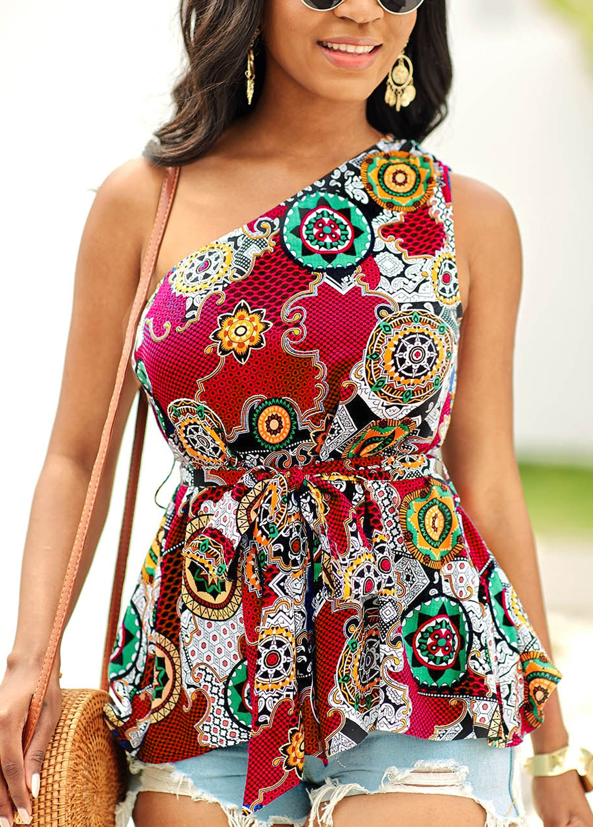 Tie Front Tribal Print One Shoulder Blouse