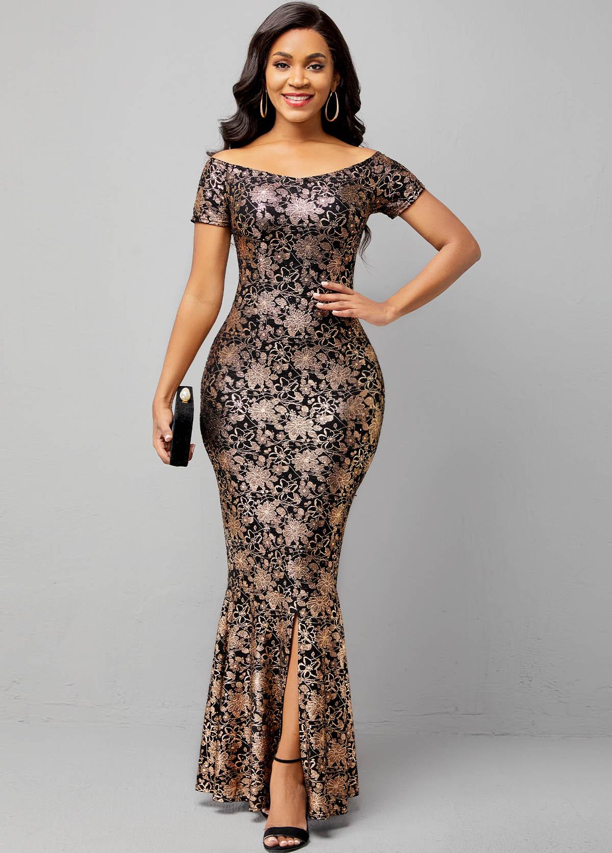 Hot Stamping Short Sleeve Off Shoulder Mermaid Dress