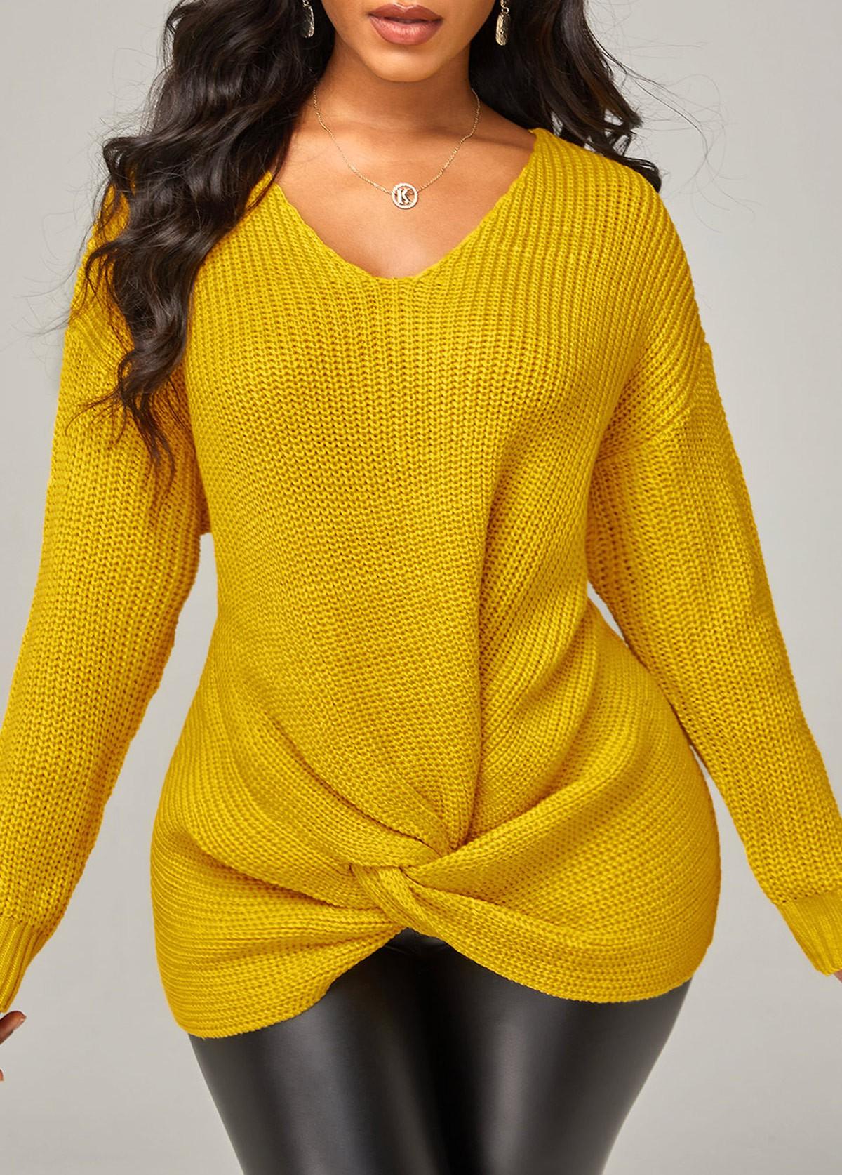 Twist Hem Solid Long Sleeve V Neck Sweater