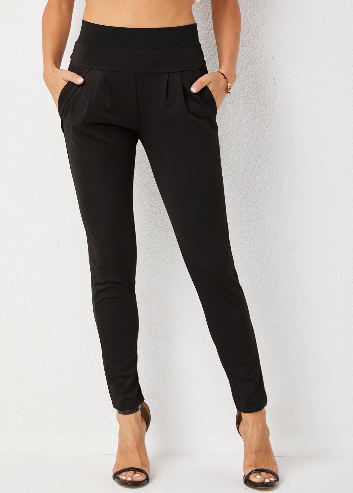 Skinny High Waisted Pocket Solid Pants