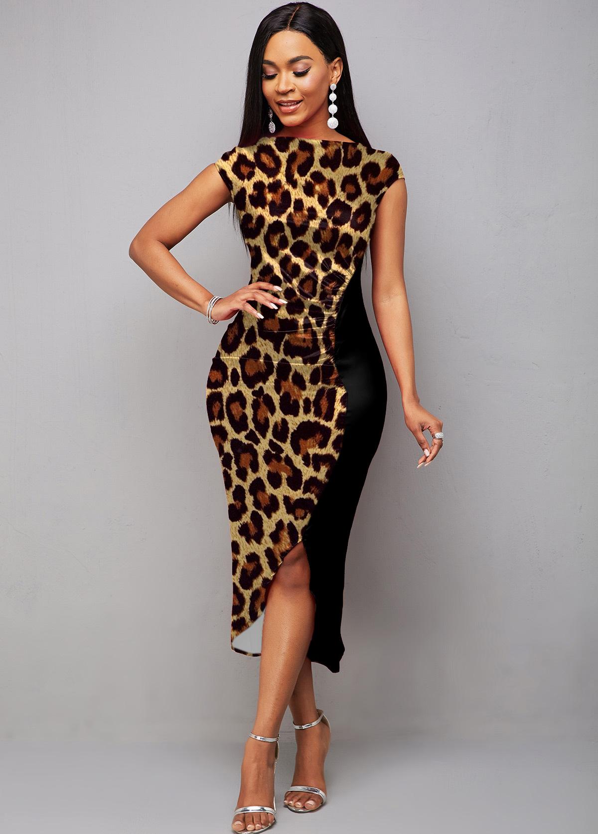 Short Sleeve Boat Neck Leopard Dress