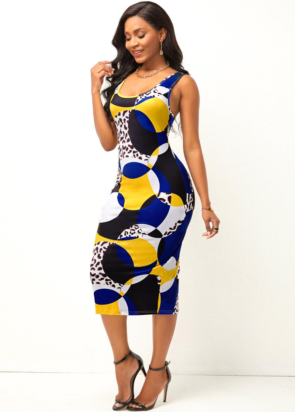 Geometric Print Leopard Wide Strap Dress