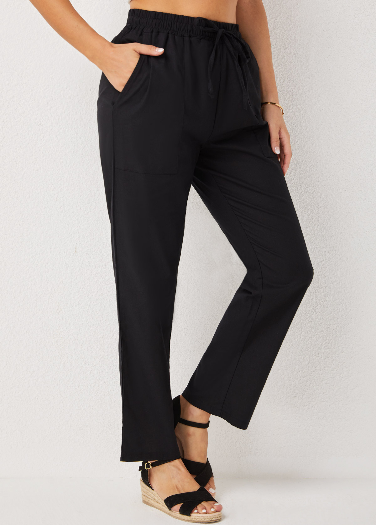 Pocket Detail High Waisted Solid Pants