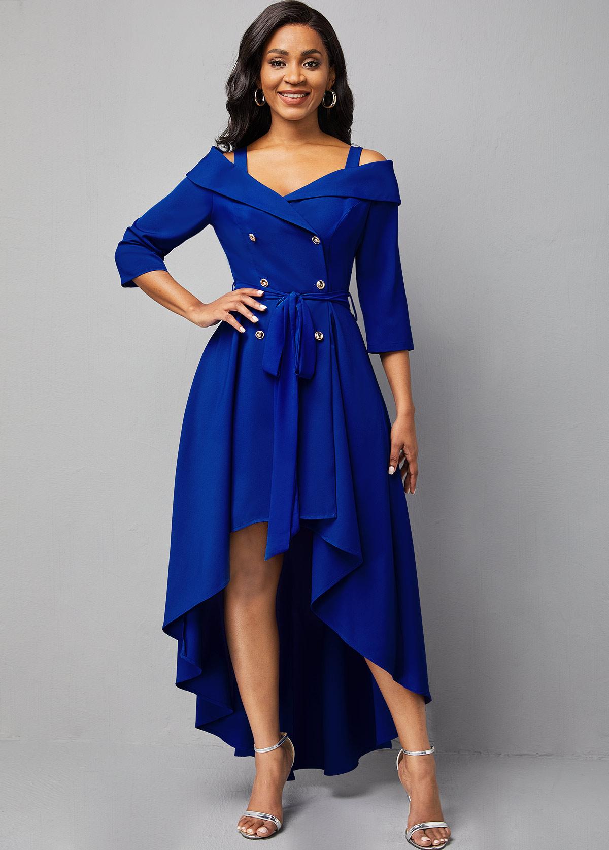 Dip Hem Cold Shoulder Double Breasted Dress