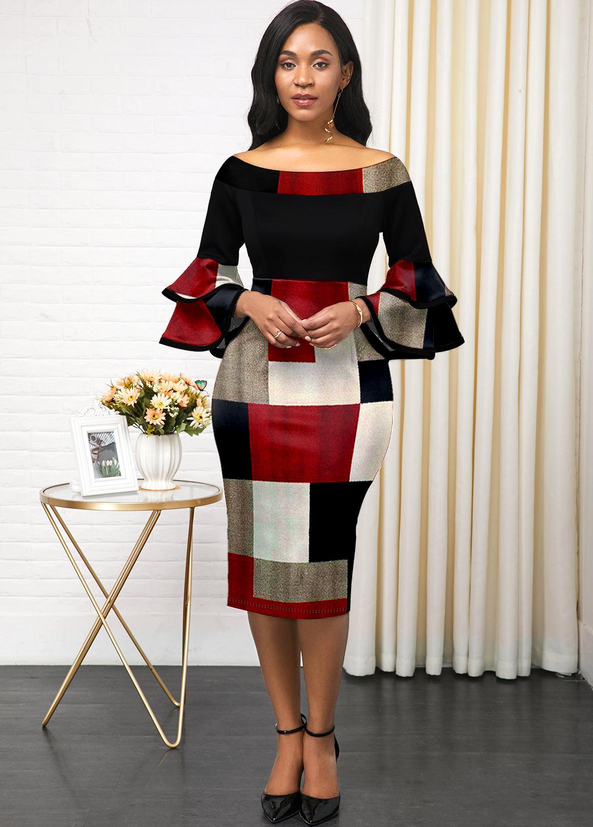 Layered Bell Sleeve Geometric Print Boat Neck Dress
