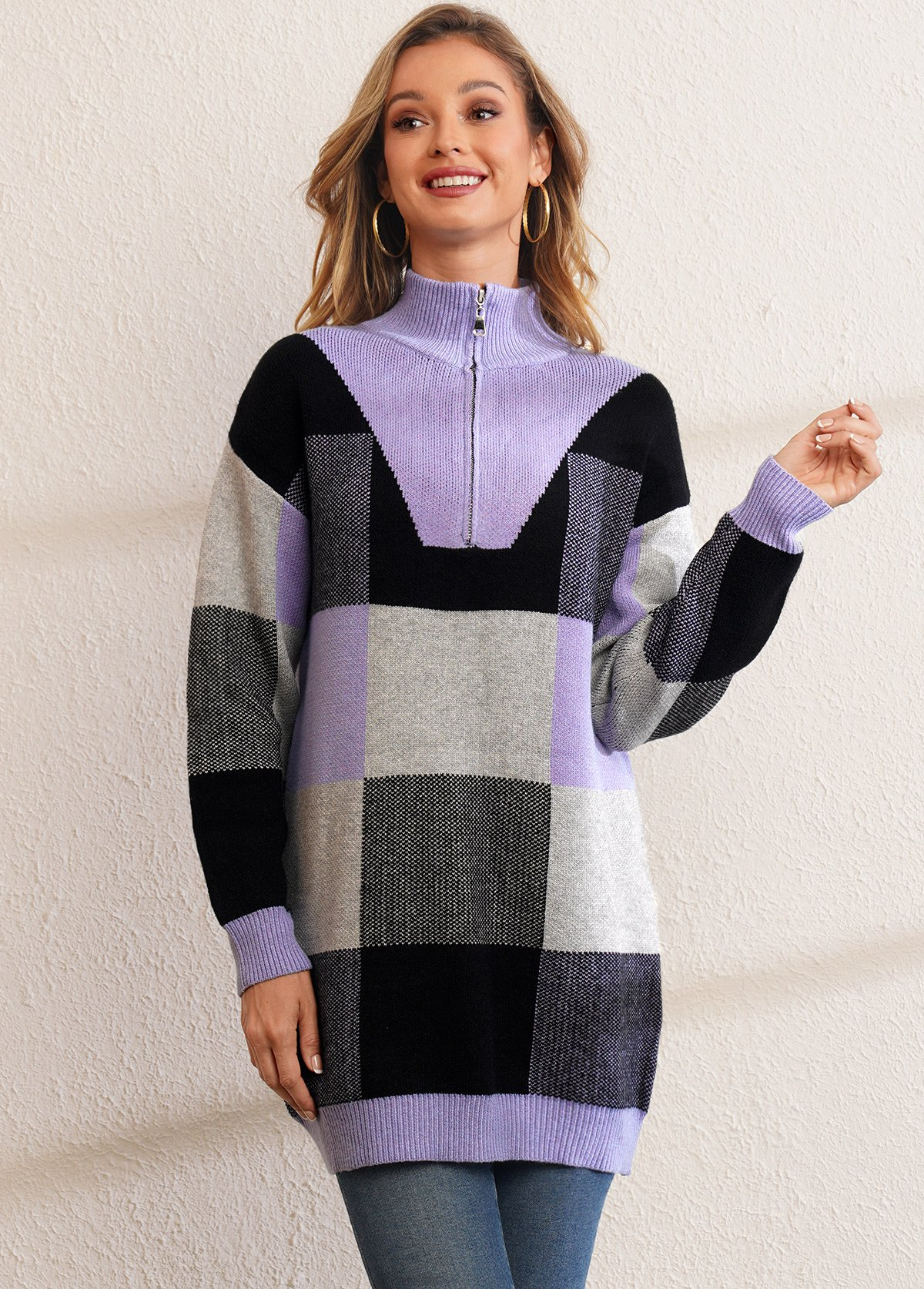 Quarter Zip Plaid Long Sleeve Sweater