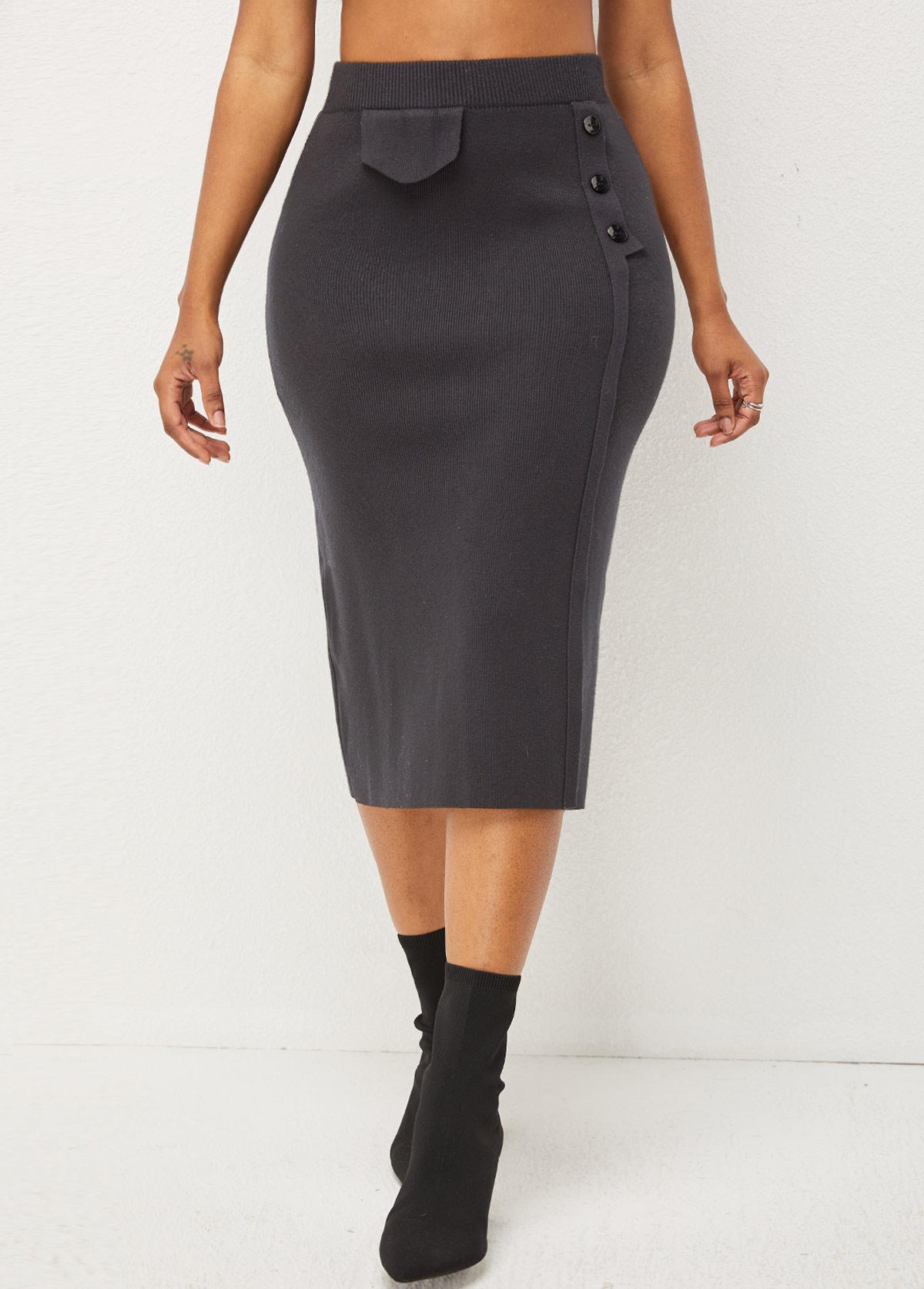 Solid Decorative Button High Waist Skirt