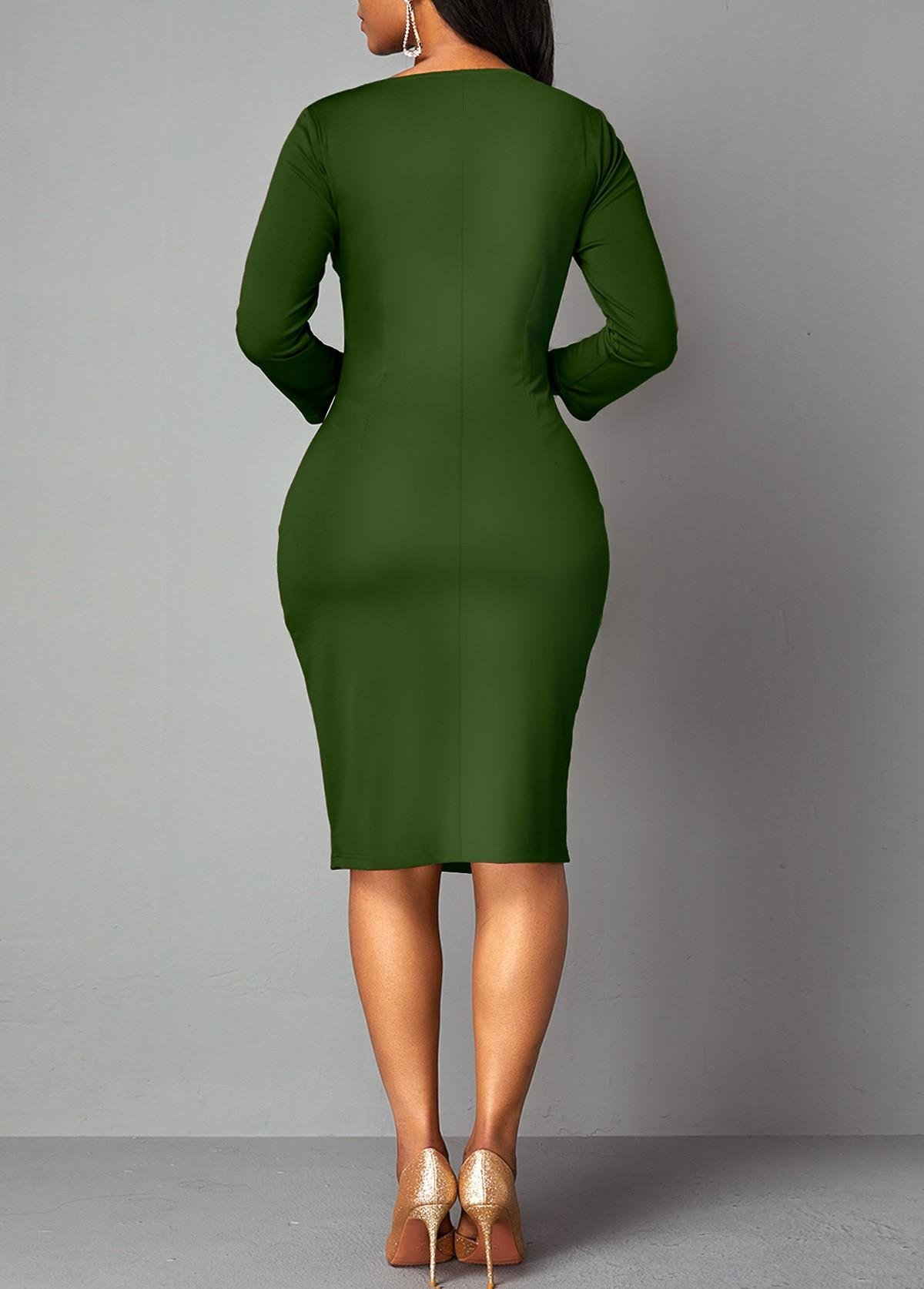 Geometric Print 3/4 Sleeve Sheath Dress