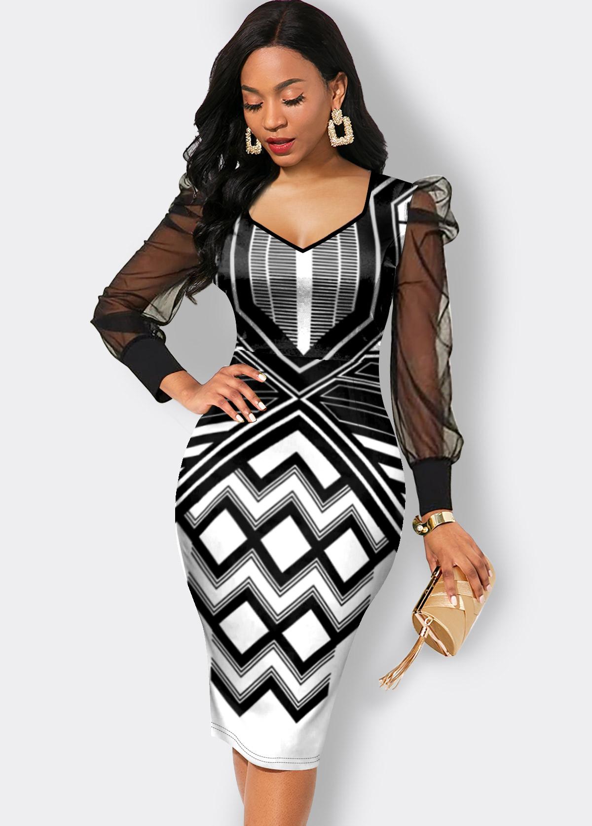 Chevron Print Long Sleeve Mesh Stitching Dress