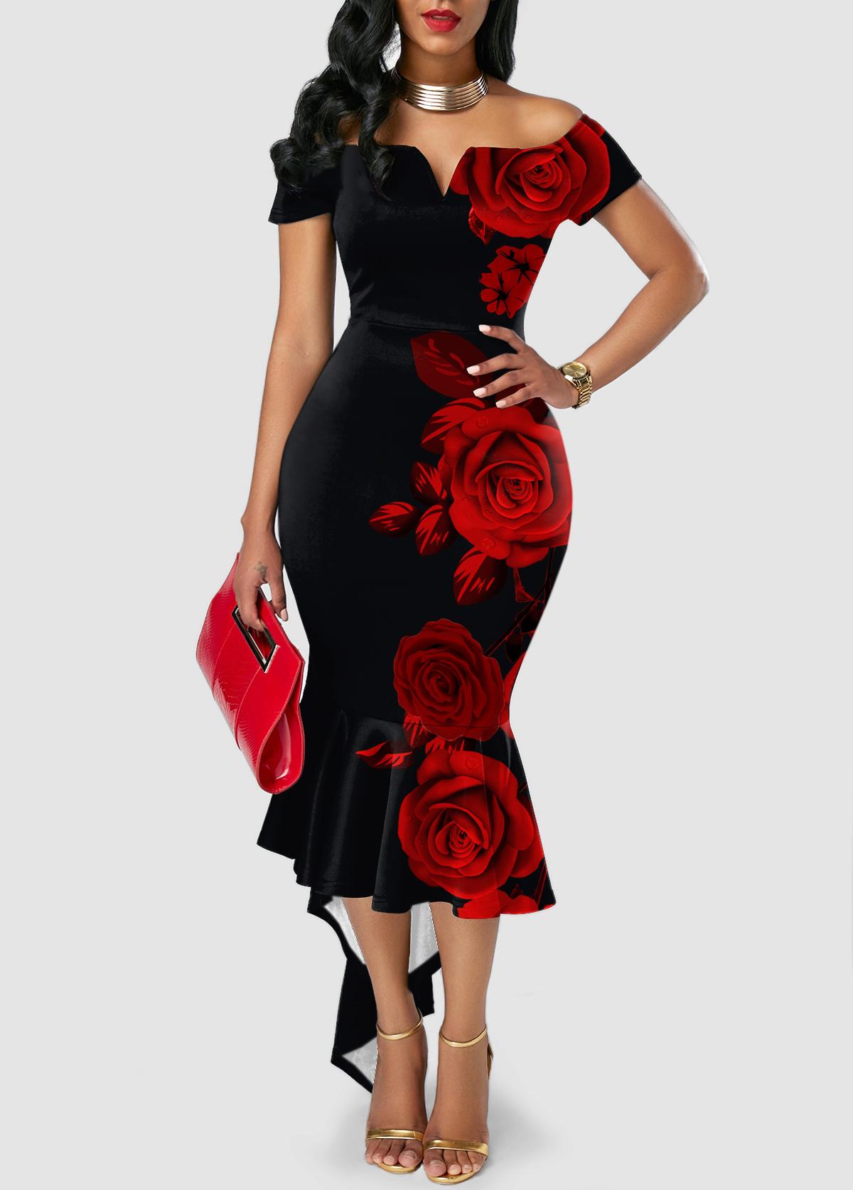 Floral Print Asymmetric Hem Sweetheart Neckline Dress