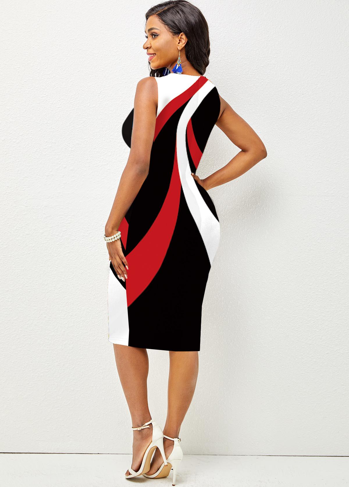 Contrast Printed Sleeveless Round Neck Dress
