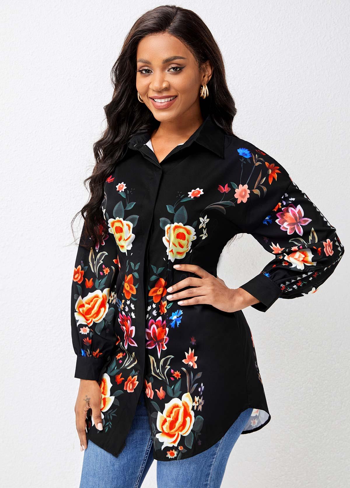 Turndown Collar Floral Print Lantern Sleeve Blouse