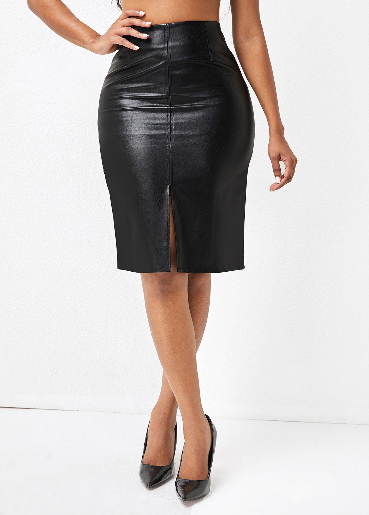 Front Slit Hem High Waisted Black Skirt