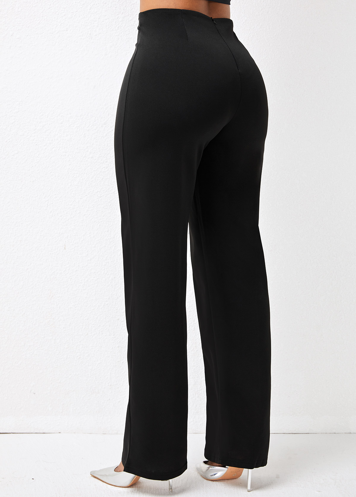 Solid Double Breasted High Waist Pants