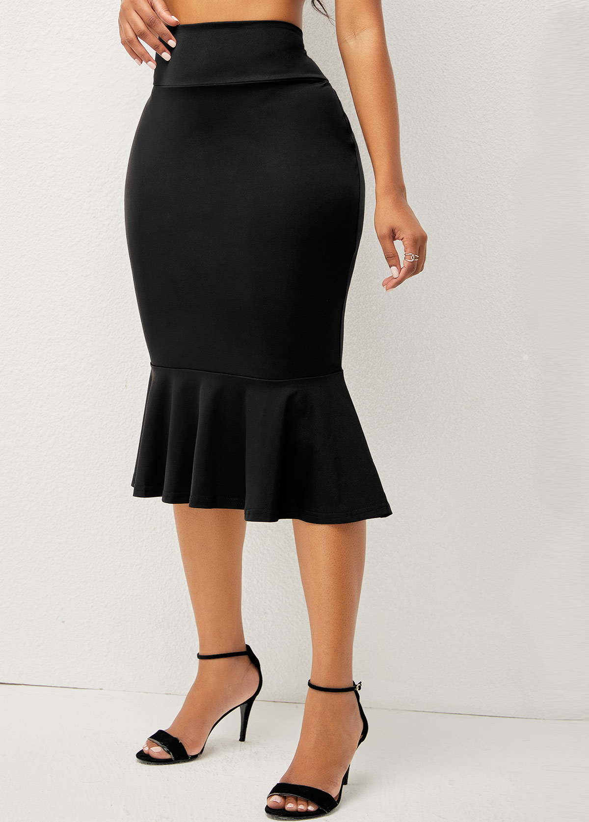 High Waisted Elastic Detail Solid Mermaid Skirt