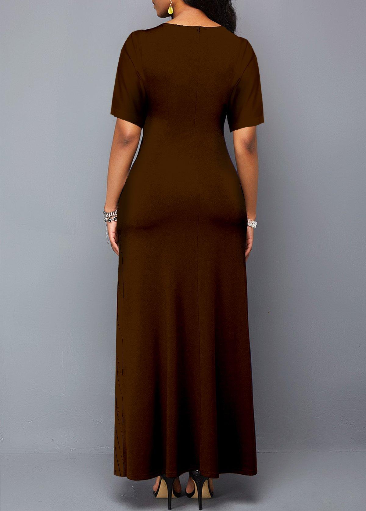 Short Sleeve Round Neck Leopard Dress