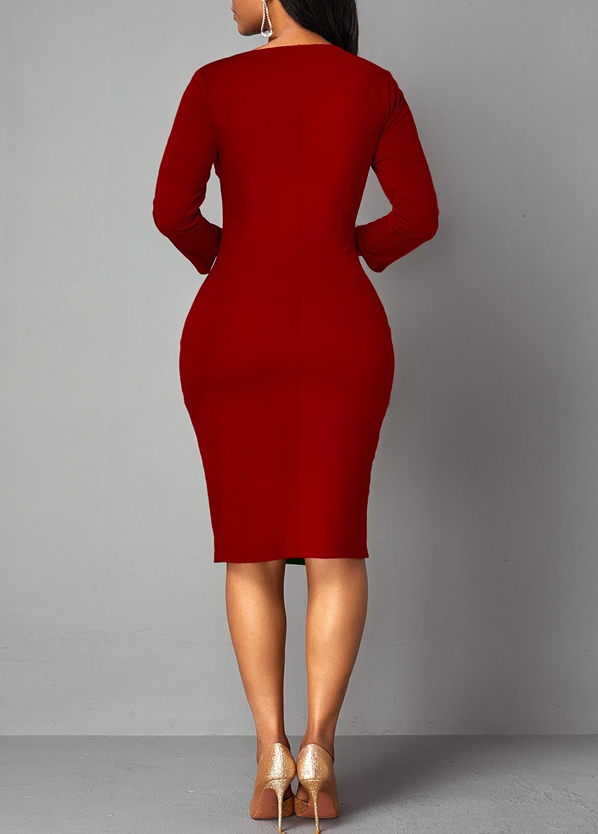 Side Slit Plaid 3/4 Sleeve Bodycon Dress