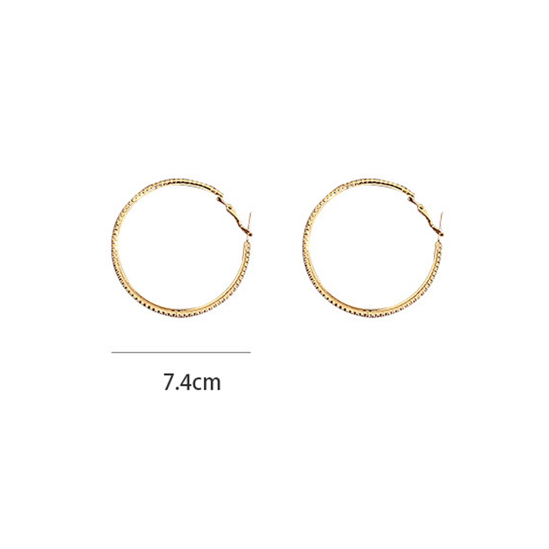 Circular Deign Metal Detail Rhinestone Earrings
