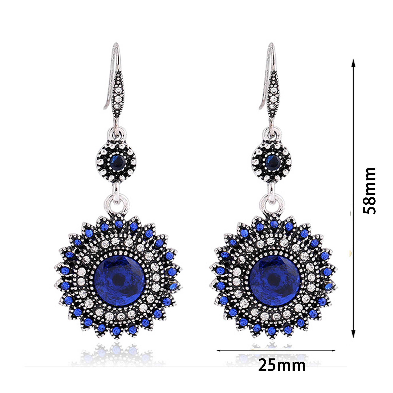 Rhinestone Floral Design Royal Blue Earrings