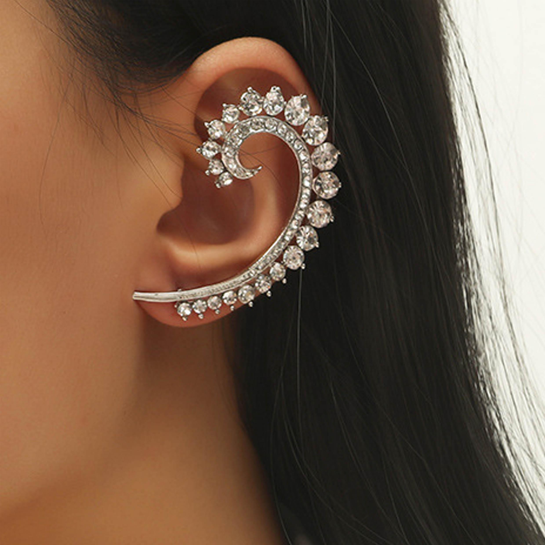 Metal Detail Rhinestone Design Silver Earring