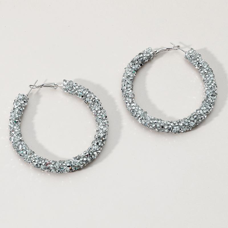 Metal Detail Rhinestone Design Silver Earring Set