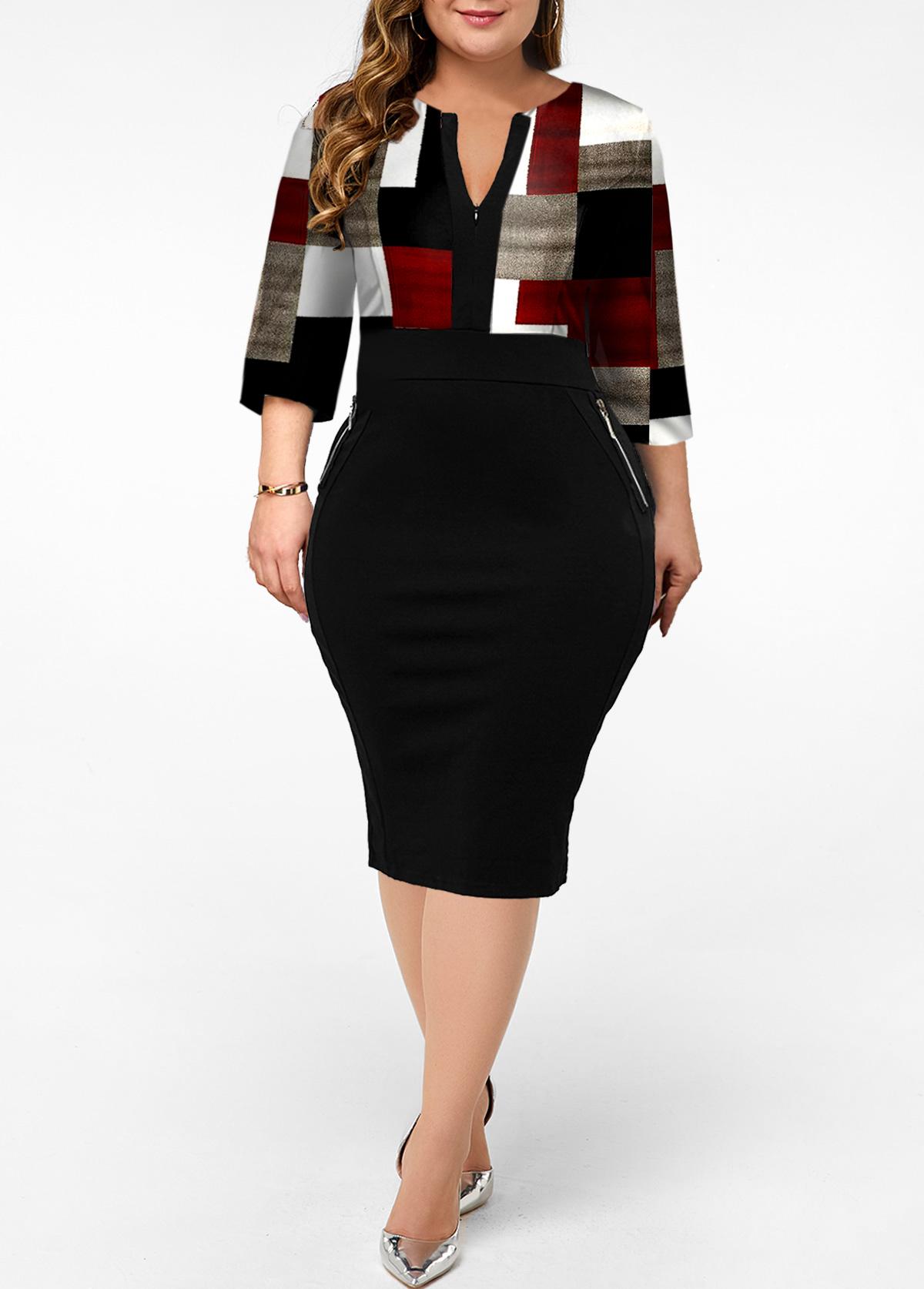 Split Neck Plus Size Geometric Print Dress