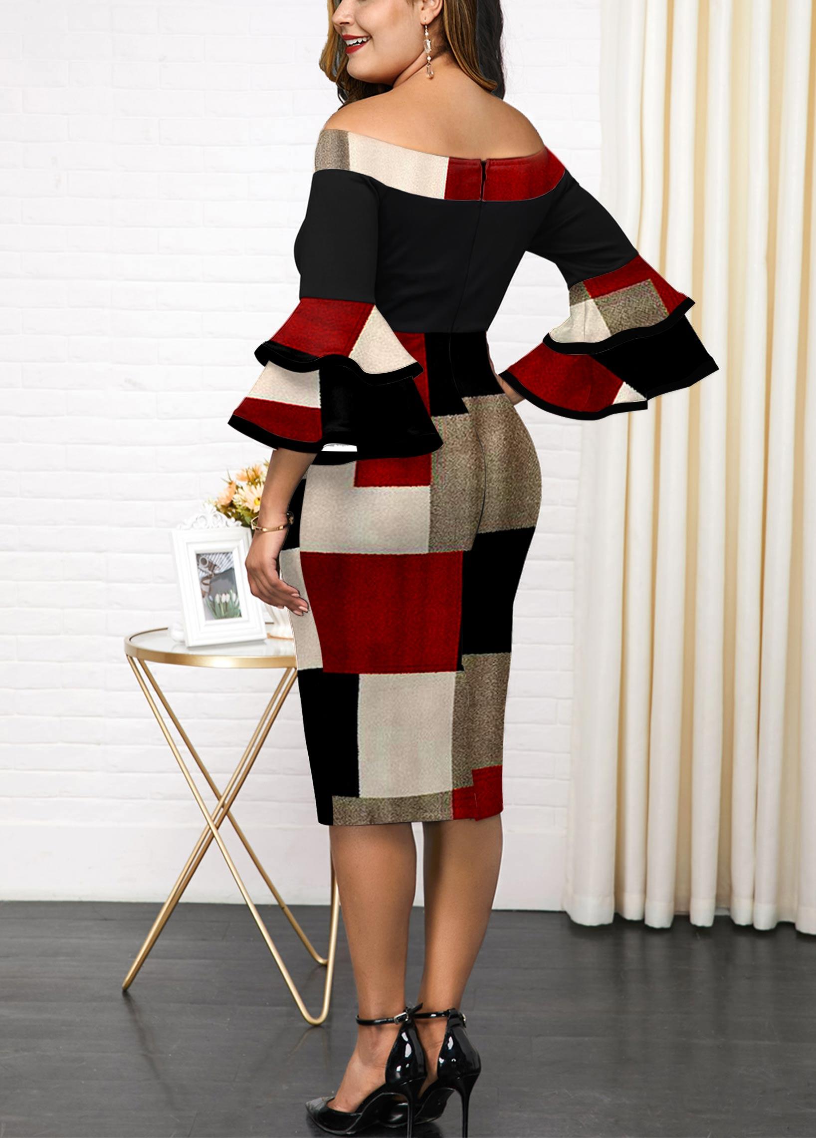 Geometric Print Plus Size Layered Bell Sleeve Dress