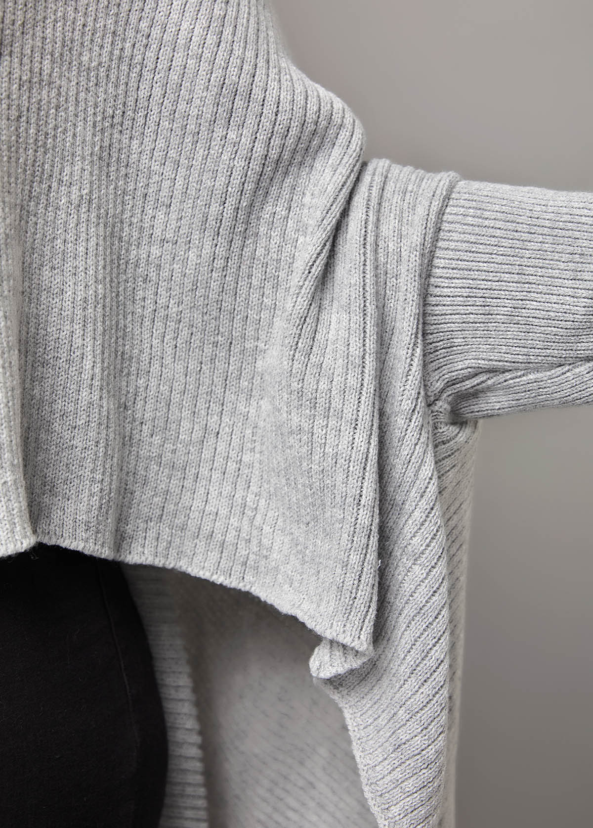 Long Sleeve Cape Sleeve Solid Asymmetric Hem Sweater