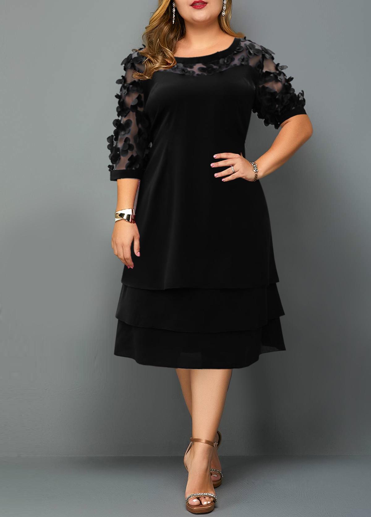 Mesh Stitching Plus Size Layered Hem Dress