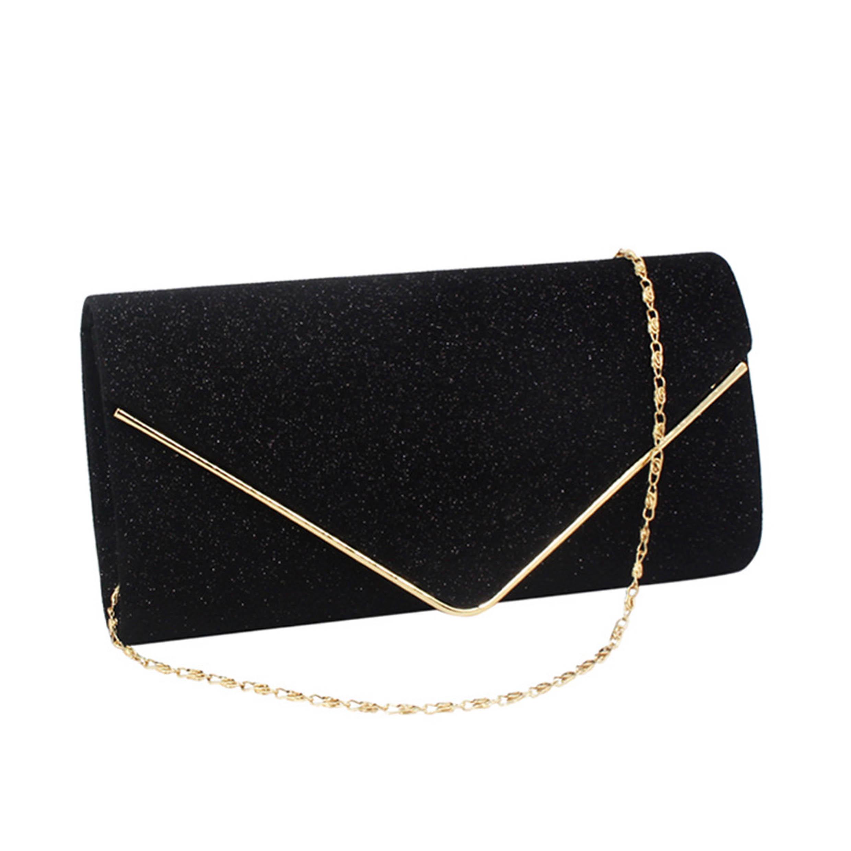 Glitter Fabric Chain Metal Detail Evening Bag