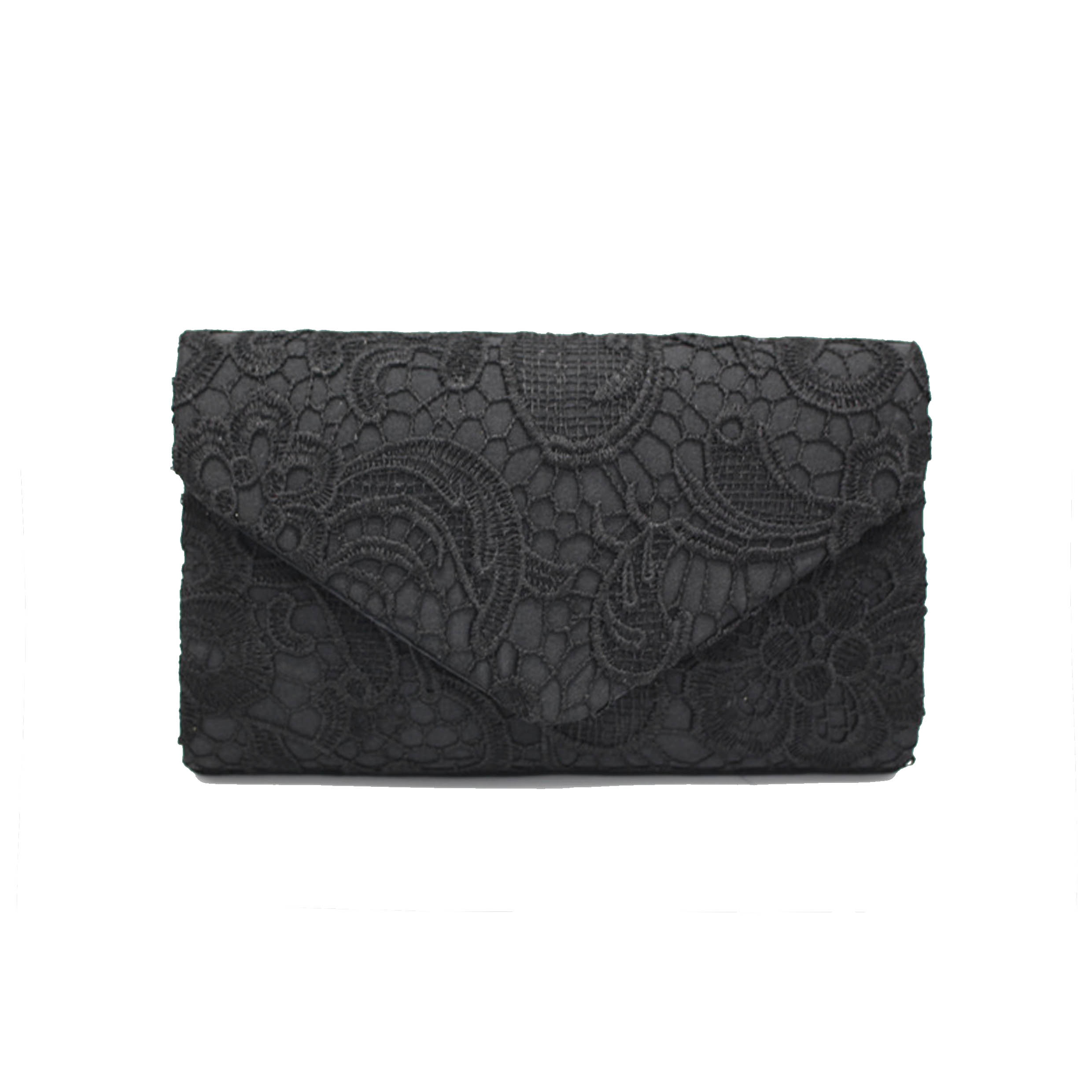 Lace Stitching Chain Design Solid Evening Bag