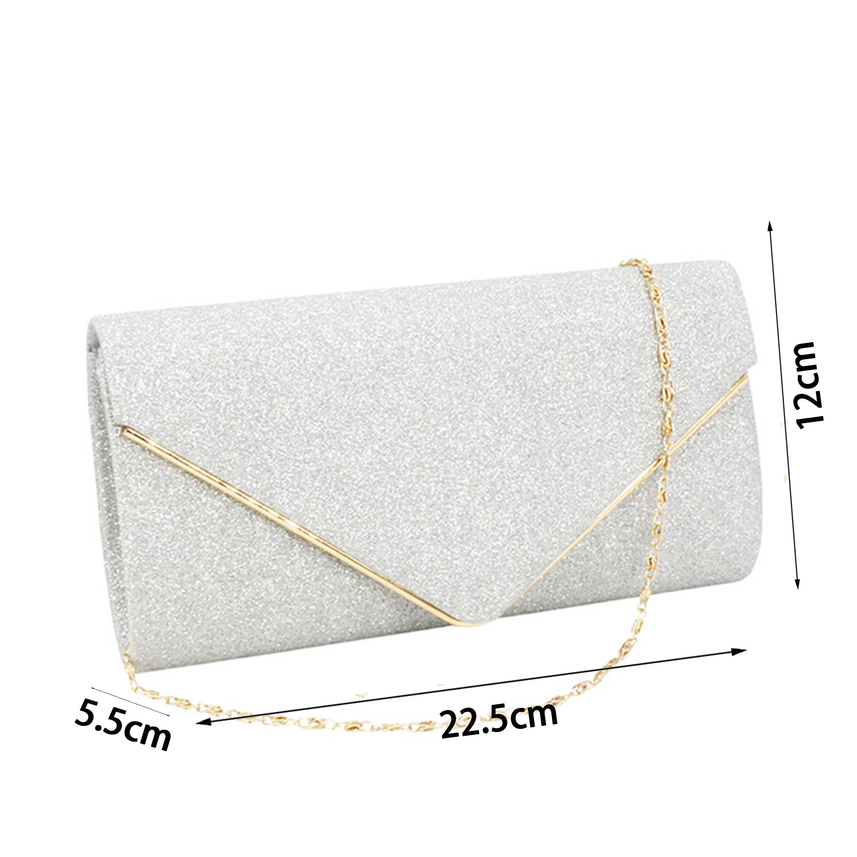 Gold Chain Design Glitter Fabric Silver Evening Bag