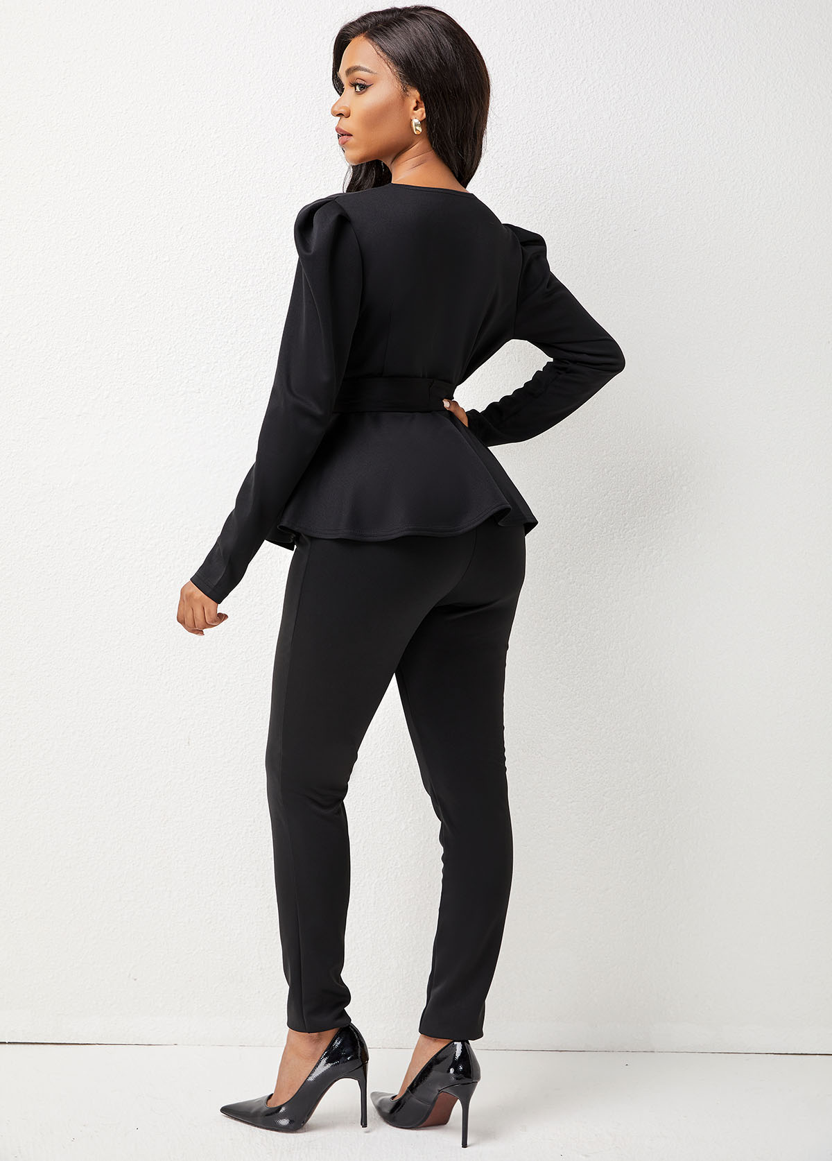 Tie Front Deep V Neck Long Sleeve Sweatsuit