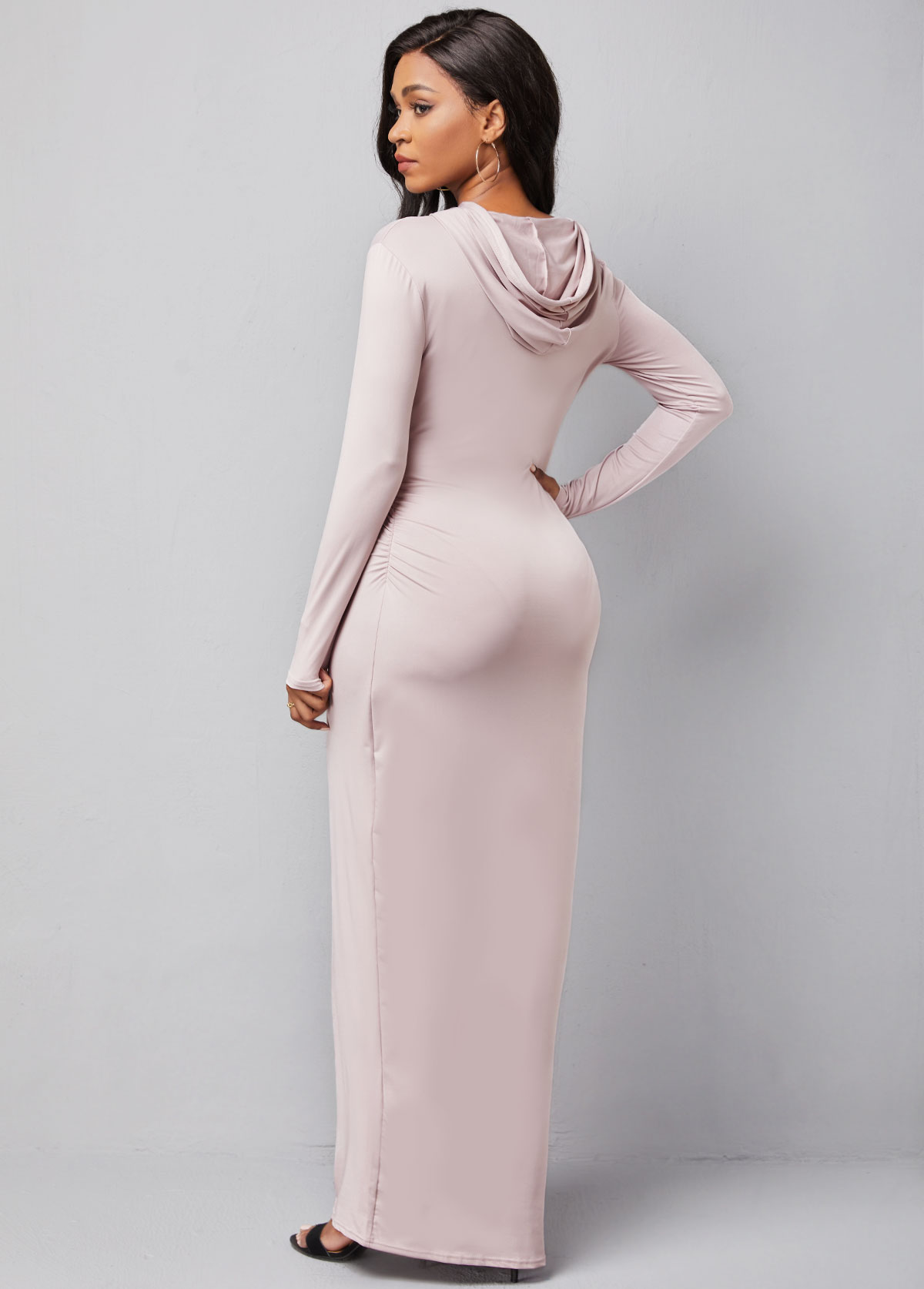 Hooded Collar Letter Print Long Sleeve Dress