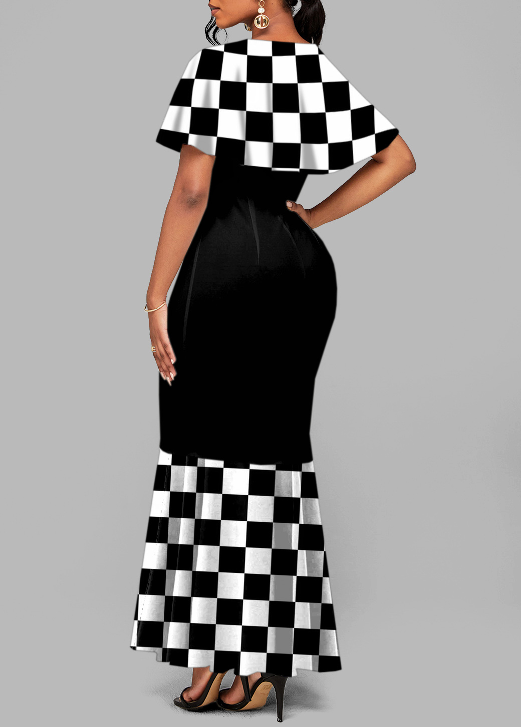 Short Sleeve Round Neck Checkerboard Pattern Mermaid Dress