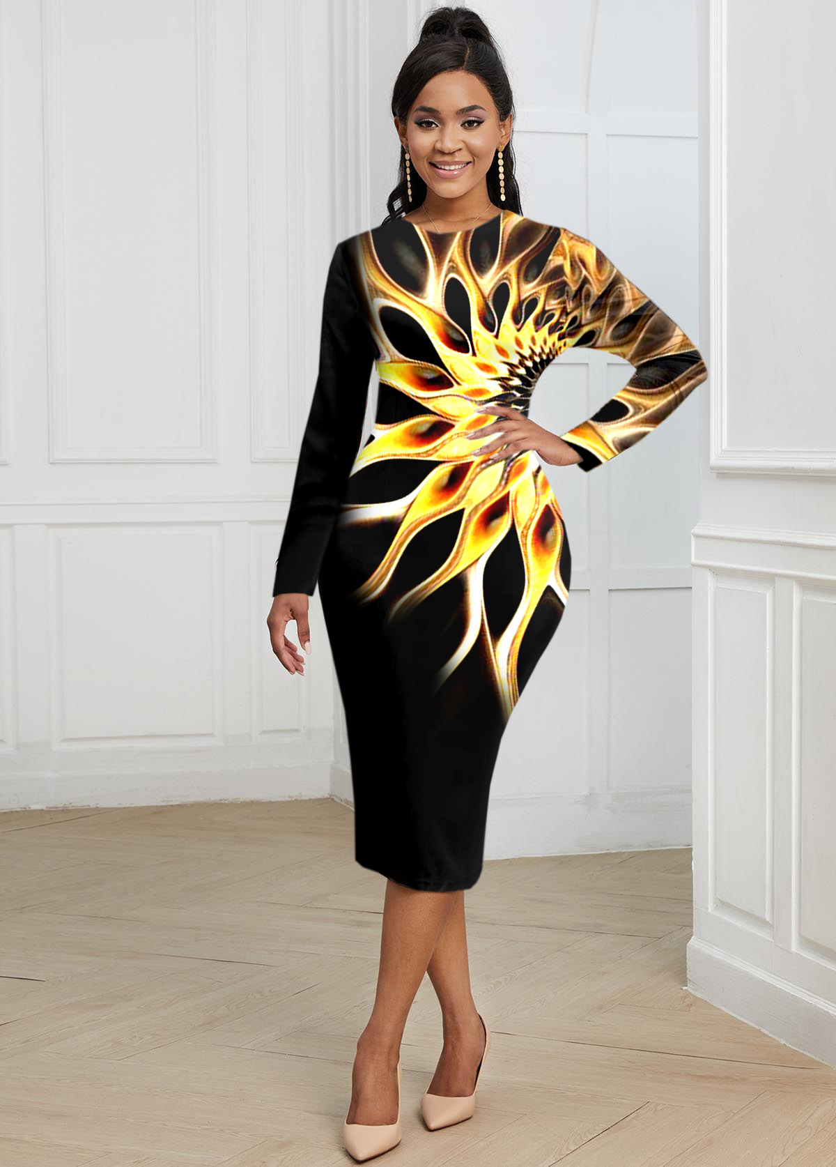 Long Sleeve Round Neck Colorful Dress