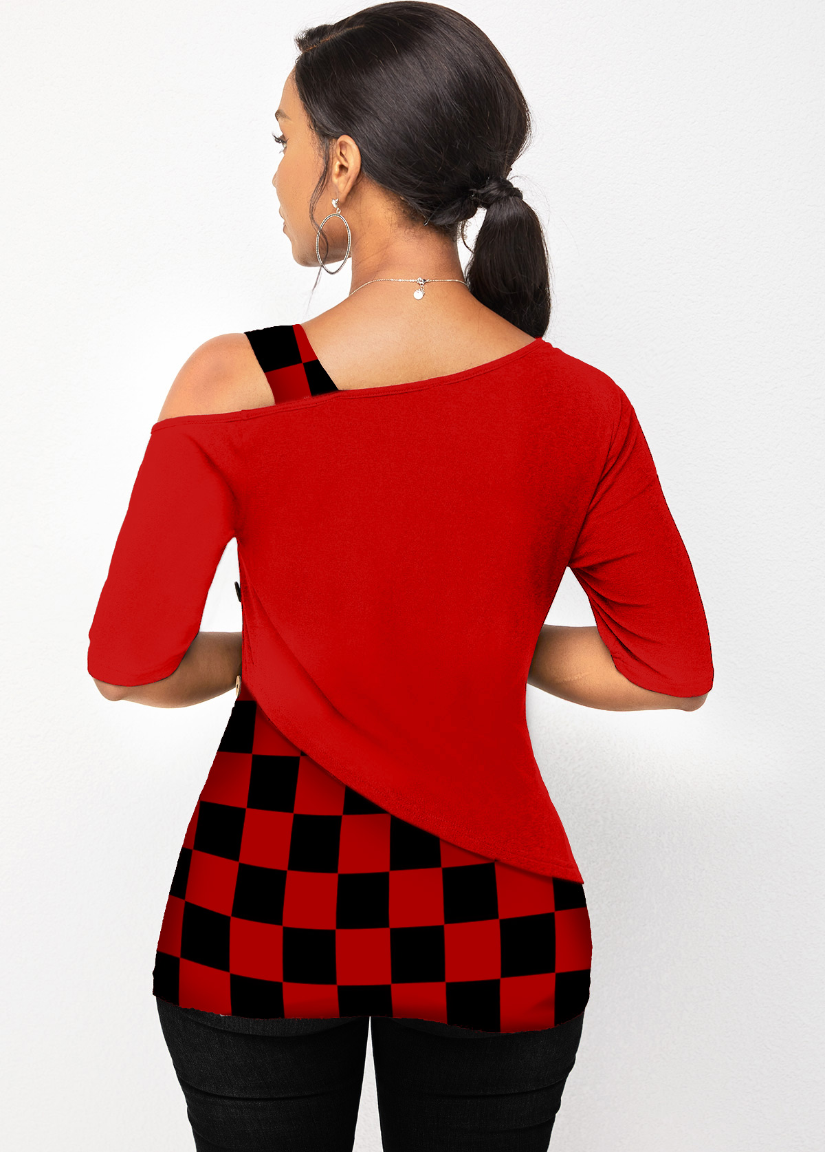 Cold Shoulder Plaid Skew Neck T Shirt
