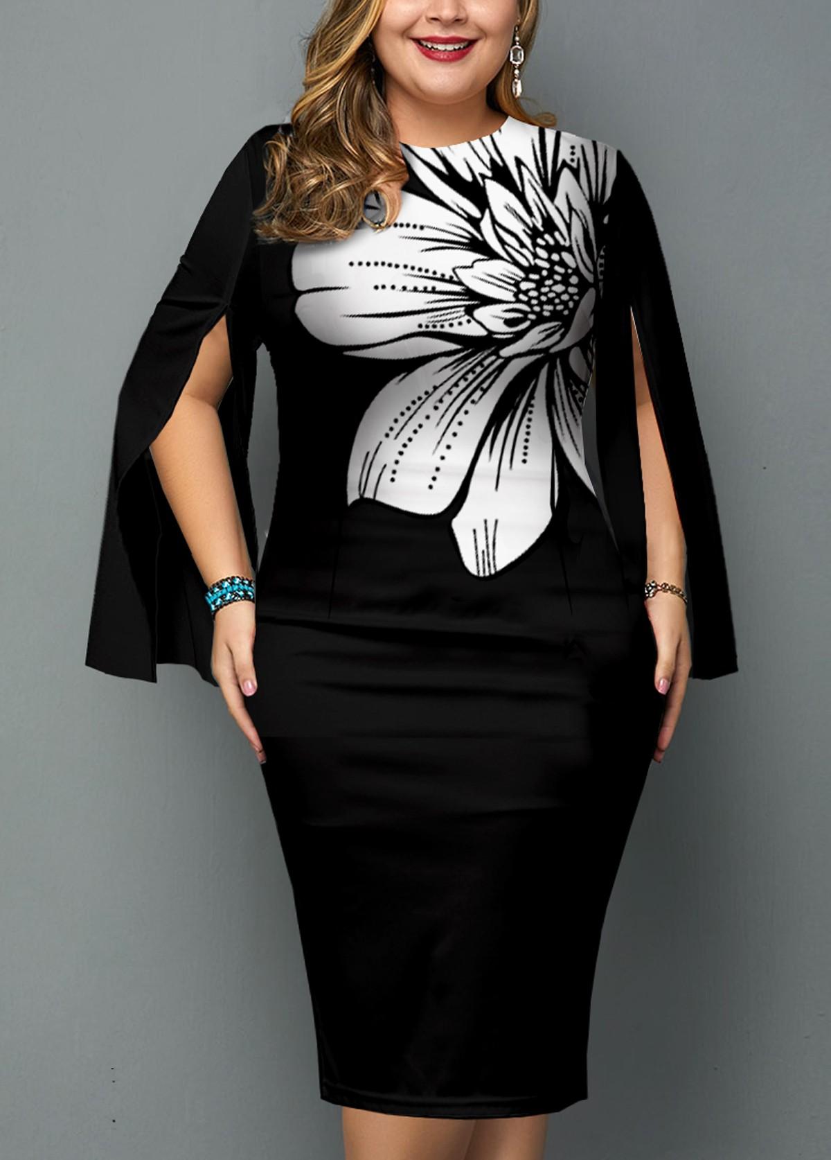 Slit Sleeve Floral Print Plus Size Dress