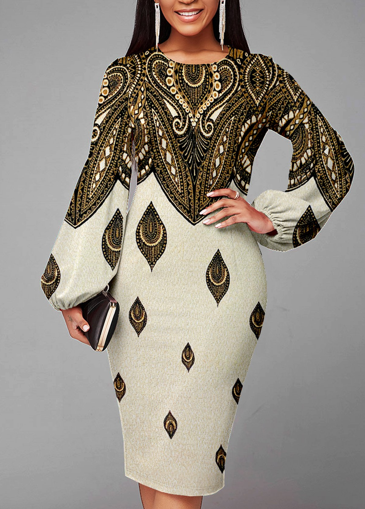 Texture Knitted Lantern Sleeve Foil Print Dress