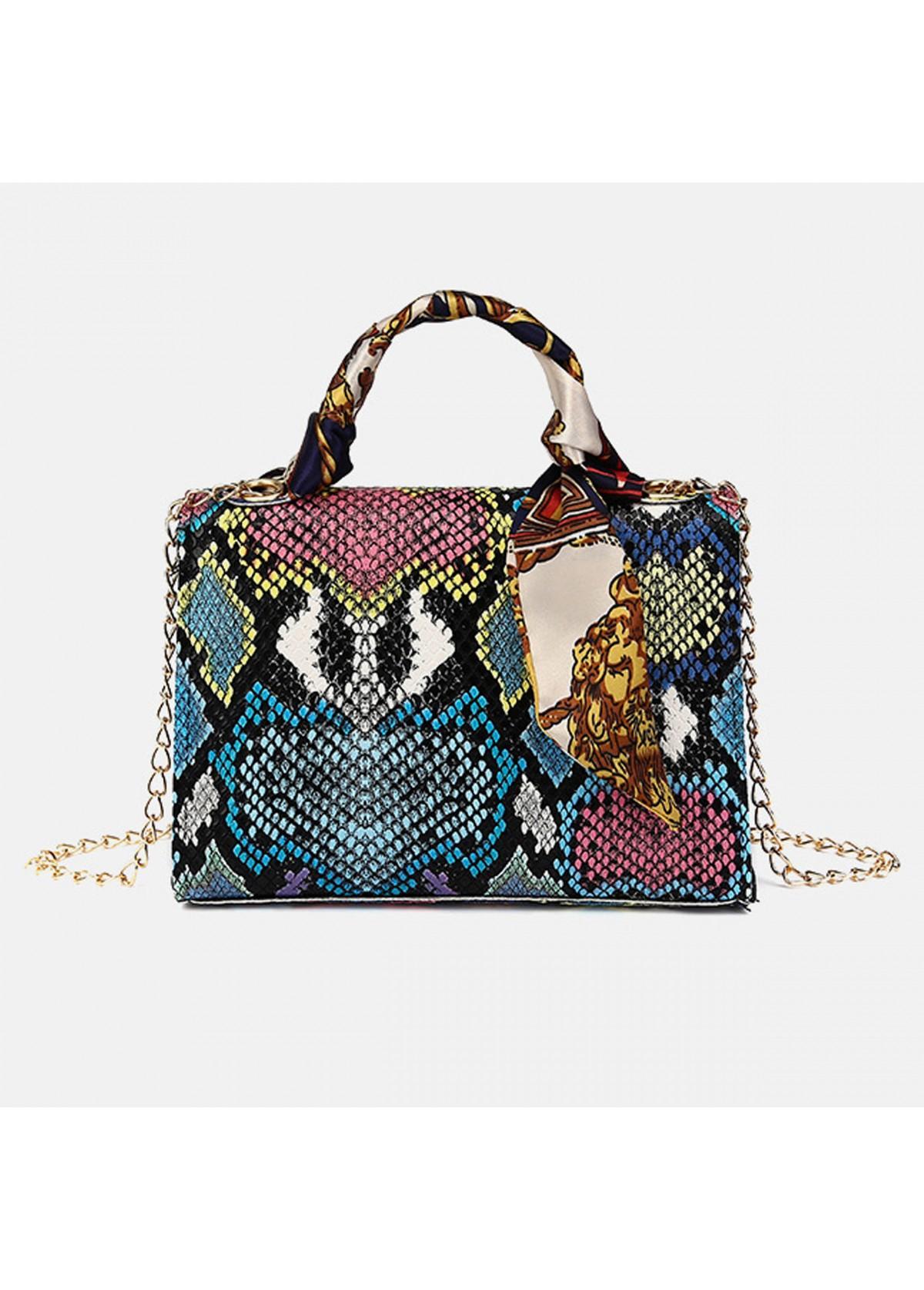 Gold Chain PU Snake Print CrossBody Messenger Bag