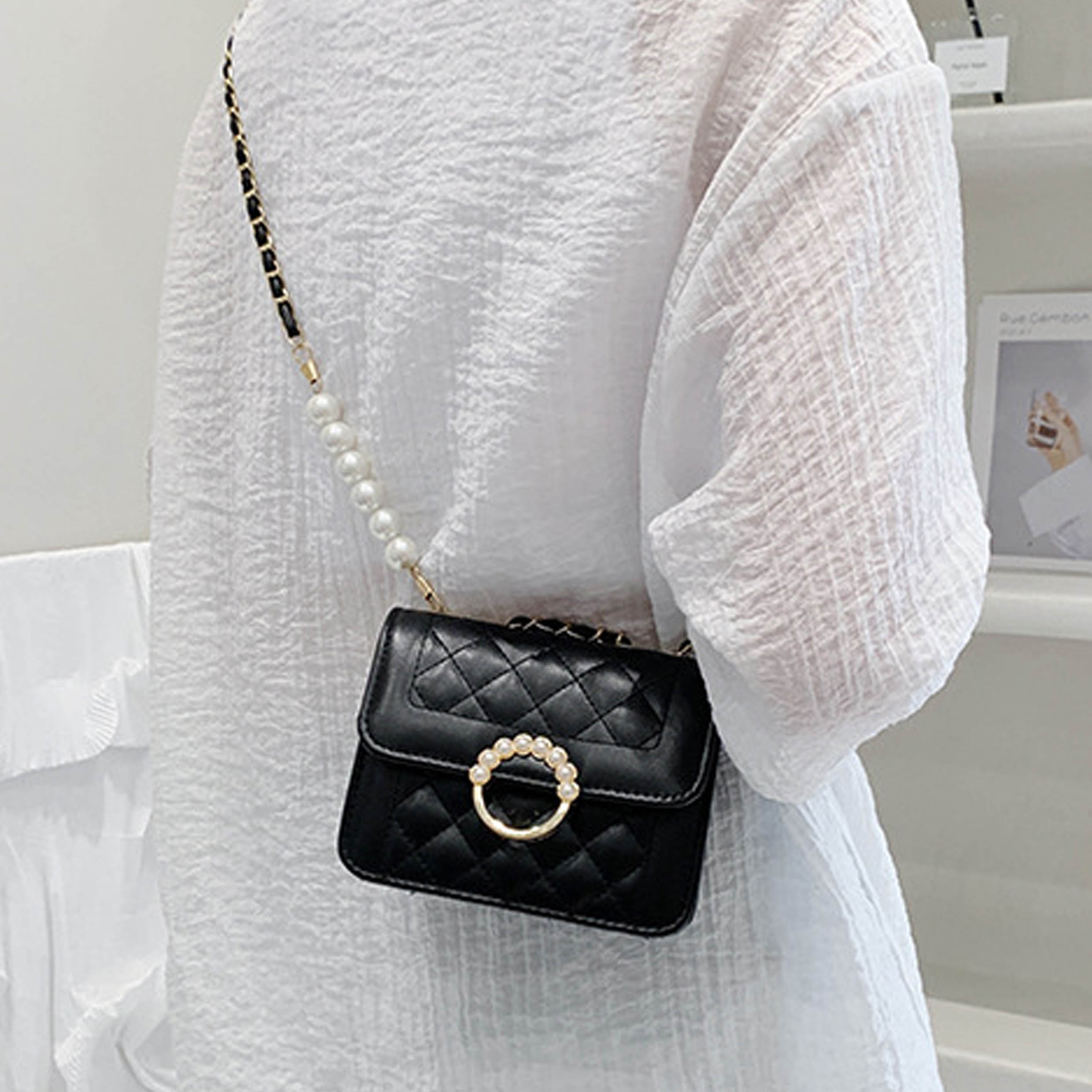 Gold Chain Black Pearl Evening Bag