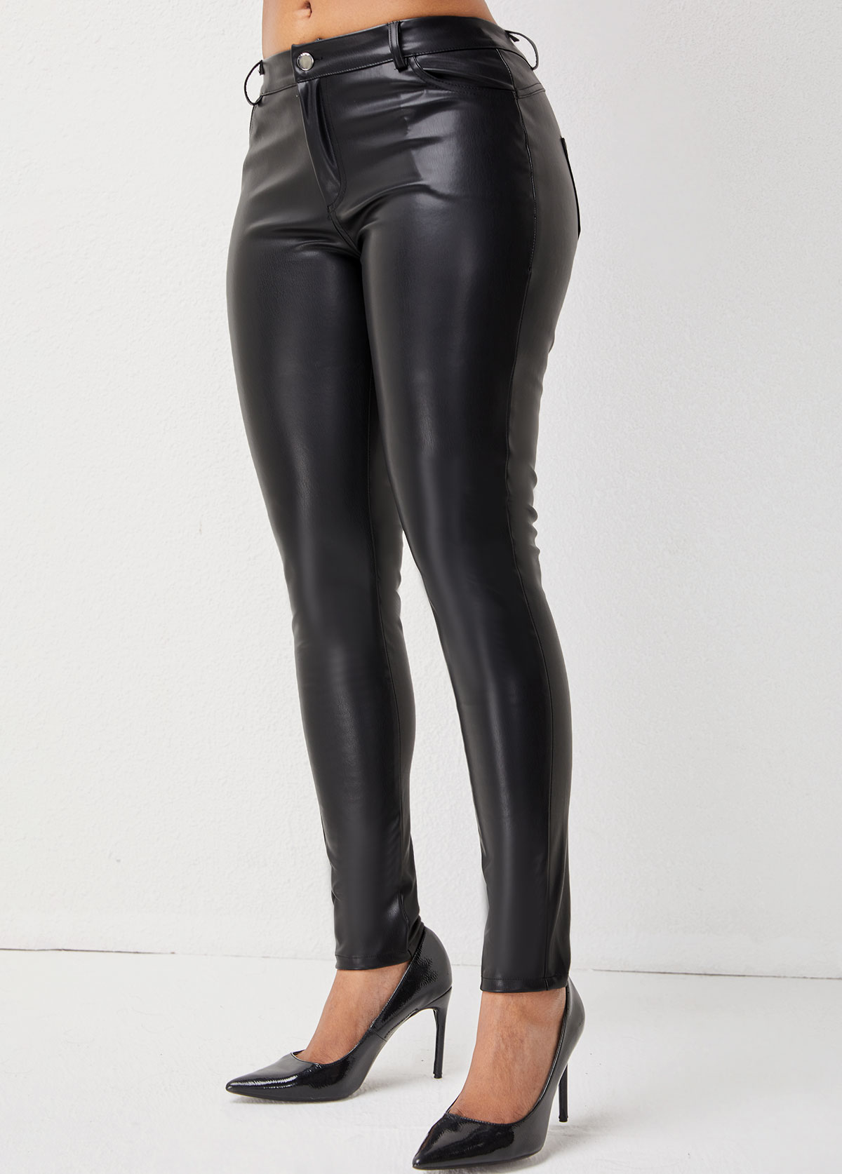 Button Detail Skinny Solid Leather Pants