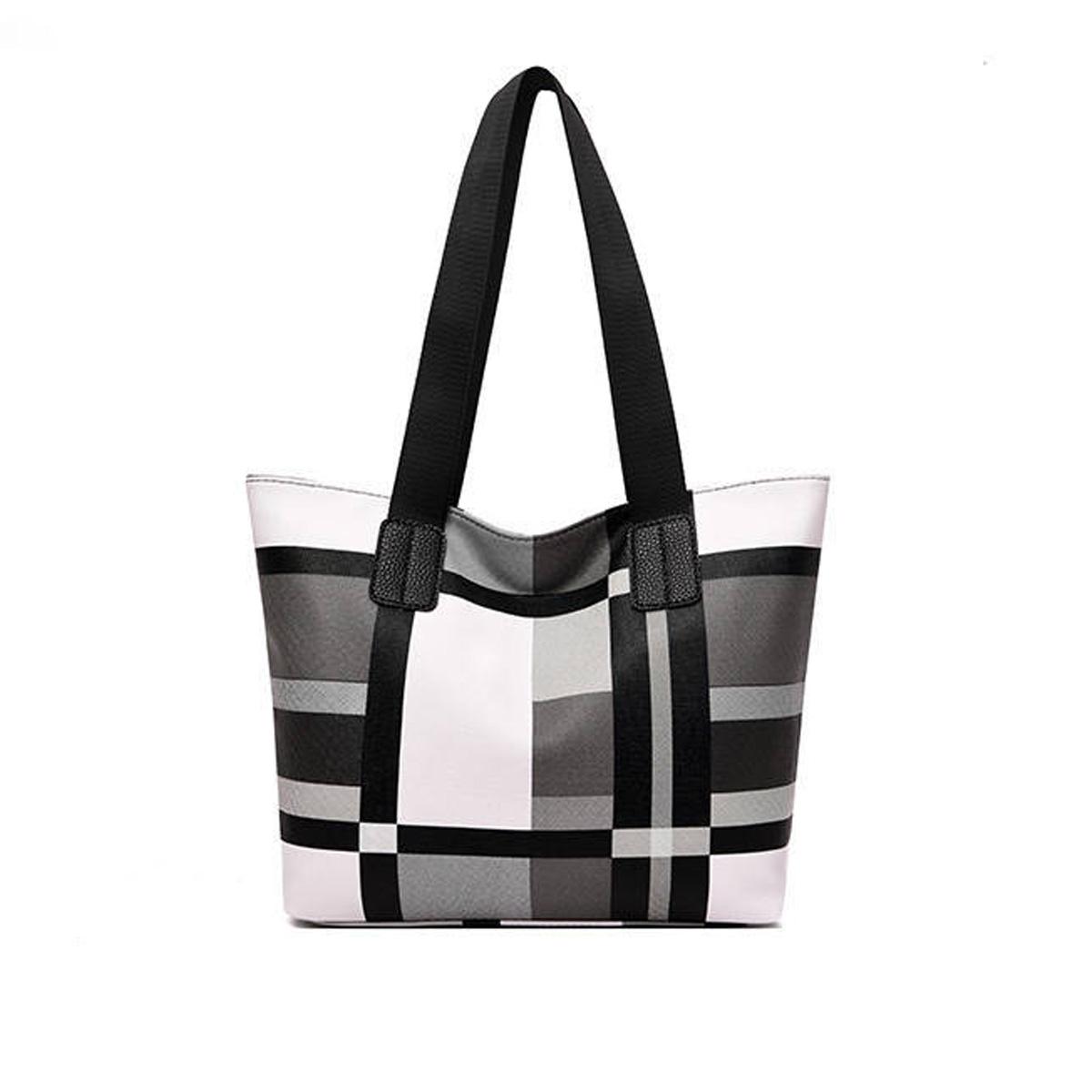 Zipper Closure Plaid Wide Strap Tote Bag