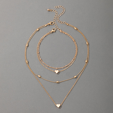 Heart Design Layered Detail Gold Necklace and Bracelet