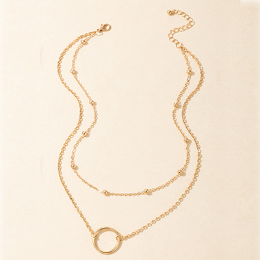 Metal Detail Layered Desigh Gold Necklace