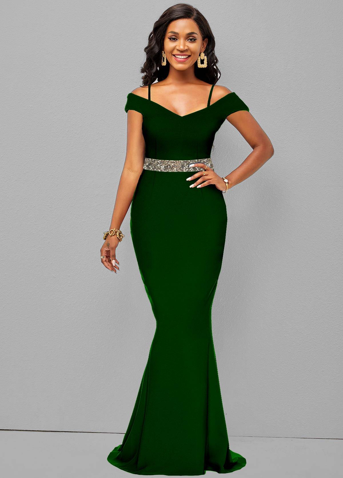Sequin Strappy Cold Shoulder Mermaid Hem Dress